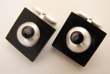 Cufflink Ebony, silver domes with Zebra shells : $117