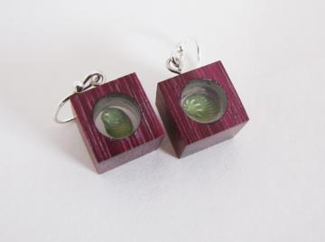 Earrings PurpleHeart wood Emerald Nerite : $60