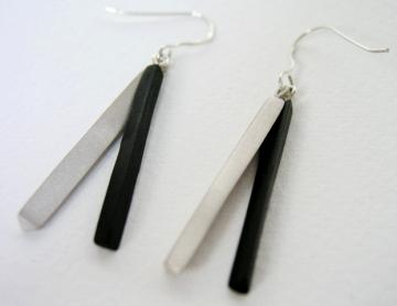 Earrings - Ebony and Silver : $113