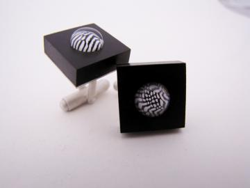 Cuff Links Ebony & Zebra shell : $127