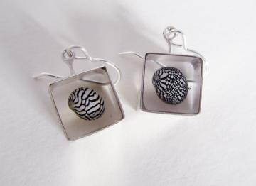 Ear Rings Silver & Zebra Shells : $93