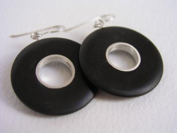 Earrings Ebony and Silver Earrings : $107