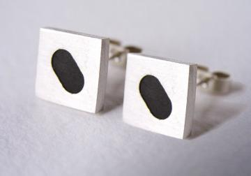 Ebony and Solid Silver Earrings : $80
