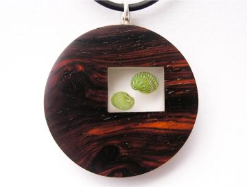 Pendant or Brooch Padauk wood with Emerald Nerites. : $107