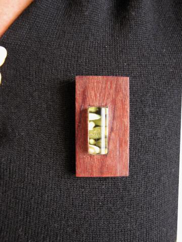 Pendant and Brooch Purpleheart wood with Emerald Nerites. : $73