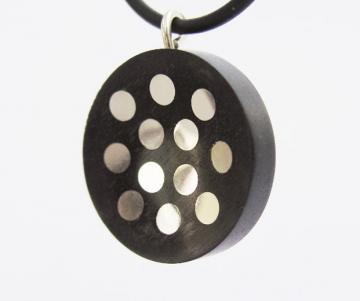 Pendant Solid Silver inlayed dots in Ebony concave turned disk : $113
