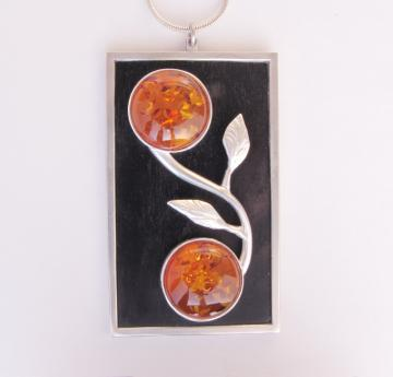 Pendant - Amber & silver on Ebony