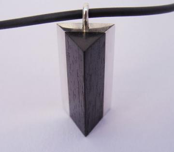 Pendant Ebony and Solid Silver Triangle Pyramid style : $52