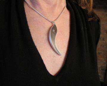 Ying Jewelry Pendant Ebony, Silver with Zebra shell : $120