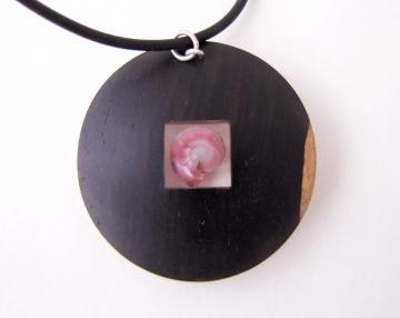 Pendant or Brooch Silver and Ebony with Pink Umbonium : $260