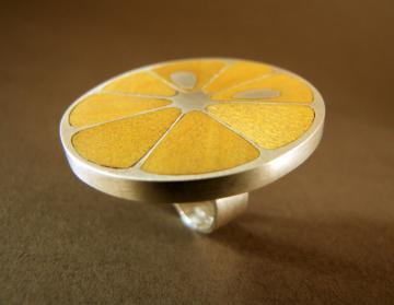 Lemon Slice Ring in Piquia Amerello wood and silver : $507