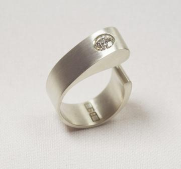 Engagement Ring - Solid White Gold with Diamond