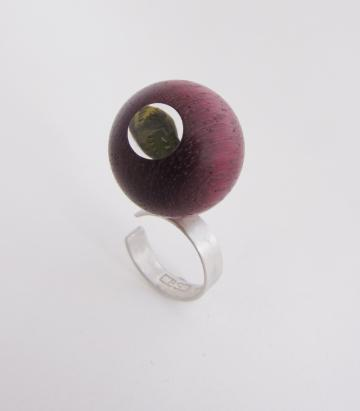 Contemporary Ring Purpleheart Sphere with Emerald Nerite magnified : $73