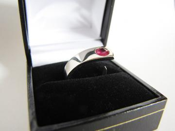 Engagement Ring - Red Ruby and 9ct White Gold : $533