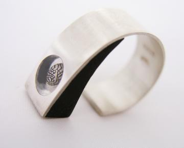 Ring Silver, Ebony & Zebra shell Adjustable to fit : $100