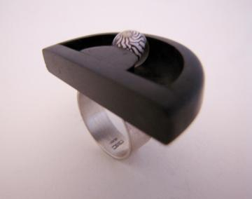 Ebony Ring with Zebra shell Automoata : $200