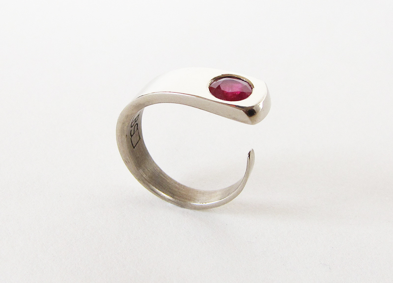 Engagement Ring - Red Ruby and 9ct White Gold
